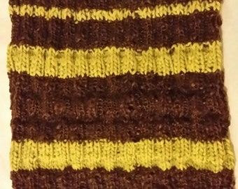 Handknitted cowl in chocolate brown and lime green