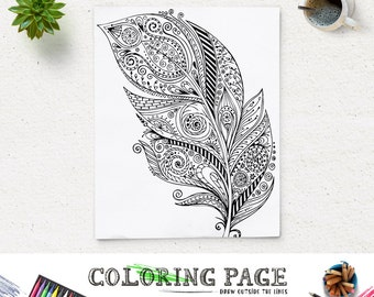 SALE Printable Adult Feather Coloring Page Art Book AntiStress Therapy Instant Download