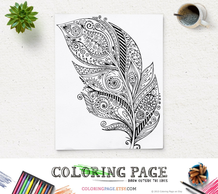 SALE Printable Adult Feather Coloring Page Art