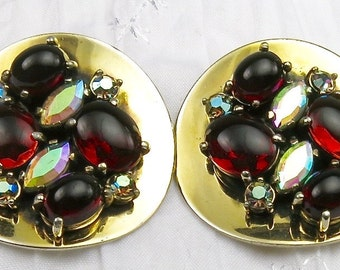 Vintage Shiaparelli Red and Aurora Borealis Gold Tone Clipback Earrings