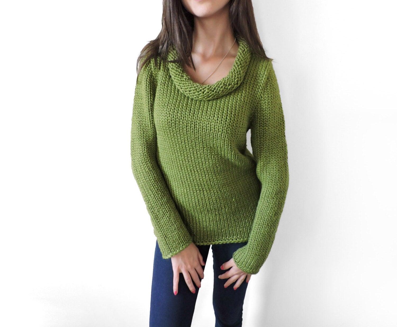 Long sleeve sweater Wool sweater Olive Green Cozy Soft Winter
