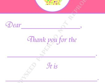Fill In Thank You Notes Kids- Children- Girl- Stationery-Tea Party- Teapot - Birthday Party