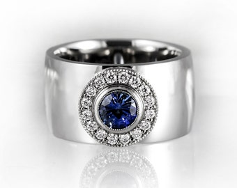 blue sapphire halo engagement ring wide white gold engagement ring blue sapphire and diamond