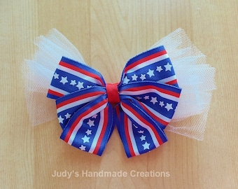 Fourth Of July Hair Bow - Hair Bow- Red White Blue Hair Bow- Patriotic Hair Bow- Independence Day Hair Bow-Hair Bow Clip-Holiday Hair Bow