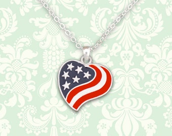 American Flag Heart Necklace - 01285