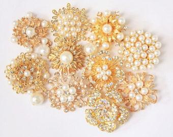 10 pcs Clear Rhinestone Pearl Wedding Vintage Assorted Gold Pin Brooch, Wholesales Bulk Lot, DIY Wedding Brooch Bouquet Kit
