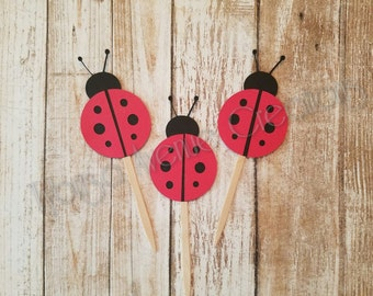 12 Ladybug Cupcake Toppers - Ladybug Birthday Decorations - Lady Bug First Birthday Toppers - Lady Bug Cupcake Toppers