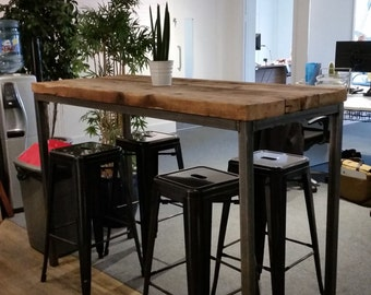 Captivating Reclaimed Industrial Chic 6 8 Seater Tall Poseur Bar Table 002 Bar And Cafe