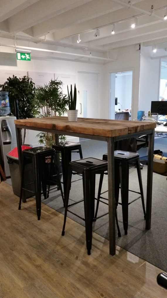 Reclaimed Industrial Chic 6 8 Seater Tall Poseur Bar Table 002