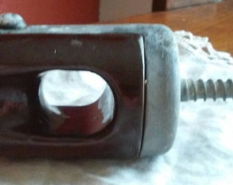 Vintage Ceramic Insulator, Electric Fence Hardware,ceramic insulator with bracket,Industrial fixture,steempunk,steam punk,farmhouse
