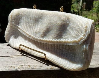 Vintage Clutch Purse 1950's White Seed Bead by Walborg in the  Richere bag pattern and style,Beaded