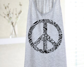 Peace Tank Top - Peace Sign - Yoga - Yoga Tank - Yoga Top - Yoga Clothes - Graphic Tee - Peace Shirt - Hippie Tank - World Peace - Boho Tank