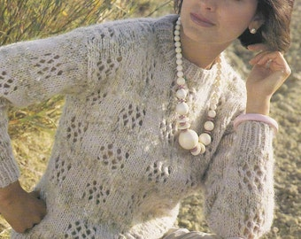 Vintage knitting pattern bulky chunky textured sweater pdf INSTANT download pattern only