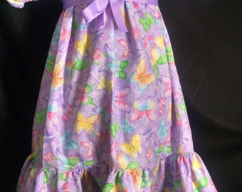 ABDL/Little/Sissy Ruffled peasant dress- purple glitter butterflies