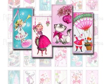 Pink Christmas Digital Collage Sheet, Domino Size 1x2, Vintage Christmas Girls Angels Deer Santa Images,  Instant Download, Printable Sheet