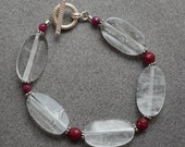 Clear Quartz, Ruby Bracelet with Sterling Silver Accent Beads and Sterling Silver Toggle Clasp