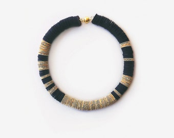 Black necklace, Black and golden paper choker, paper jewelry, paper necklace, black and golden necklace