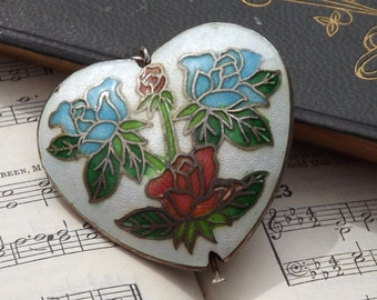 Cloisonne Heart Pendant Vintage Jewellery Enamelled with Pink & Blue Roses Hollow Heart