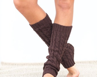 Brown Cable Knit Leg Warmers