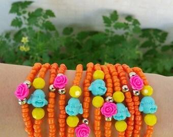 Stacking bracelets - yoga jewelry - laughing buddha - orange jewelry - stretch bracelets - buddha plastic beads - stacking bracelets - boho