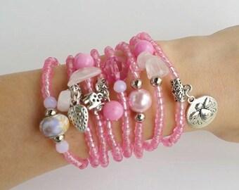Friendship Bracelets - Boho Chic - Pink Bracelets - angel charm - bracelet set - stackable bracelets - layering jewelry - pink jewelry