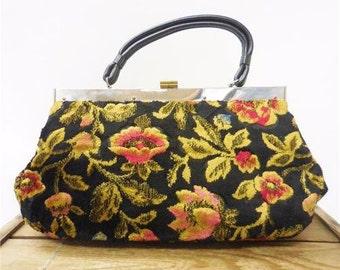 Vintage 1960s Crushed Velvet Gold Black Floral Tapestry Carpet Purse Evening Bag