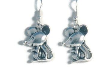 Silver Mice Earrings, mouse jewelry