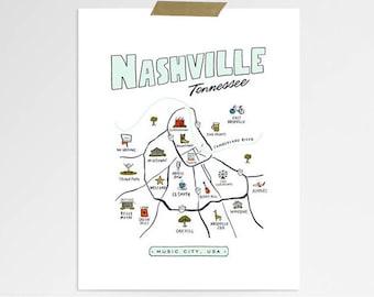 Nashville Neighborhood Map | 8 x 10 print