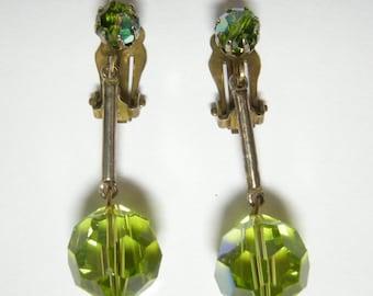 Wonderful Vintage Green AB Aurora Borealis Dangle Earrings