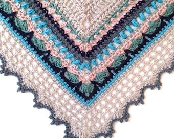 Crochet Shawl in 100% fine merino superwash wool - Sunday Shawl - Wrap Scarf