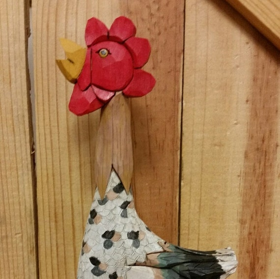 """Speckled Sussex Rooster Caricature carved by MADellinger Wood Carving CK # 5  for the """"Chicken Series"""""""