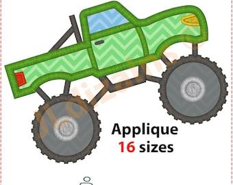 Monster Truck Applique Design. Monster truck embroidery design. Embroidery design monster truck. Applique truck. Machine embroidery design