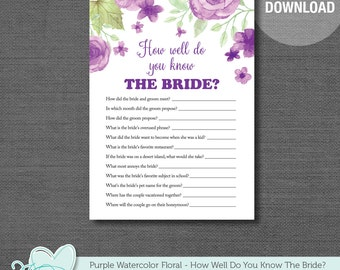 Bridal Shower How Well Do You Know The Bride Game, Purple Watercolor Floral, Printable, Instant Download, Bridal Shower Game, Flowers, 007A
