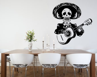 Sugar Skull, Sugar Skull Decal, Sugar Skull Sticker, Wall Decal, Day of the Dead Sticker, Dia De Los Muertos, Mariachi, Yeti Decal, Mexico