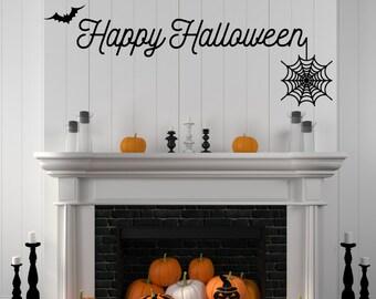 Halloween Decal, Halloween Wall Decal, Happy Halloween Decal, Happy Halloween, Spider Decal, Bat Decal, Spiderweb Decal, Halloween Party