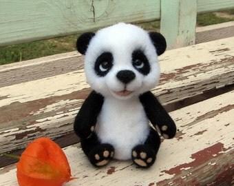 Felted Panda Bear Needle Felted Panda Toy Felt Organic toys for Kids Needle Felted Animals Wool Toys Christmas Gift Ideas Stuffed Animal Toy