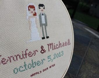 Custom Wedding Couple Cross Stitch- with hoop