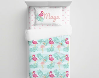 Pink Flamingo Kids Bedding - Personalized comtemporary Kids Bedding Set - Baby Crib Bedding - Kids Duvet/Comforter Set - Mod Baby Bedding