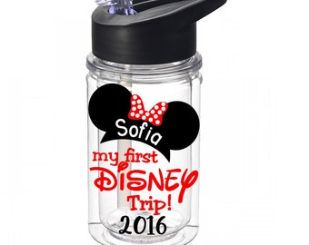 my first DISNEY trip - Mickey OR Minnie kids Disney water bottle - 10 oz. kids water bottle personalized with name - made to order