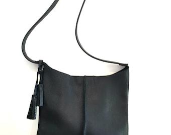 Black leather crossbody bag with tassels, crossbody, shoulder bag, purse,