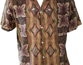 1960s Extra Large Shirt Mens Hawaiian Tropical Tiki Resort Brown Polynesian Retro BBQ Summer Beach Vacation Honeymoon Rockabilly Greaser Mod