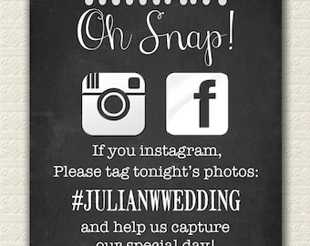 "Social Media Wedding Hashtag Sign 8x10"" (Slightly Different Wording)"