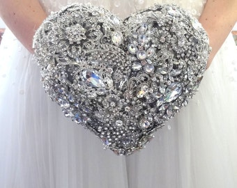 Silver Heart shaped BROOCH BOUQUET. Cascading glamour broach bouquet by MemoryWedding. Silver jeweled