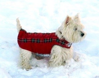 Westie / Westy Winter Dog Coat - Dog Jacket with underbelly protection -  Custom made Dog Raincoat - Waterproof / Fleece - MADE TO ORDER