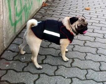Pug Dog Raincoat - Dog Jacket with underbelly protection - Waterproof Dog Clothes  - Dog Rain Coat - Custom made dog clothing