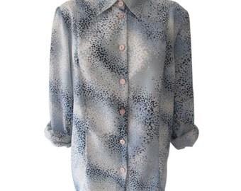80s • Vintage • Blue • White • Polkadot • Graphic • Print • Button Up • Shirt • Blouse • Top