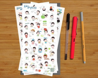 Transparent Diary Stickers - Angry Grumpy Girl - 021 - Six Sheets of Stickers