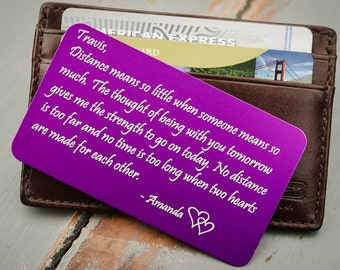 Custom Wallet Insert, Personalized Wallet Card: Valentine's Day, Anniversary Gift, Wedding Gift for Men, Medical ID, Emergency Contact Card