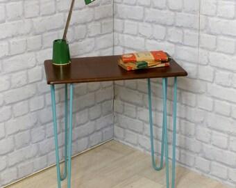 Hairpin legs retro vintage side table mid century retro Danish teak 1950s 1960s