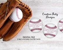 Printable Baseball Party Favor Tags or Labels - Baseball Themed Birthday - Baseball First Birthday - Party Printables - Baseball Baby Shower